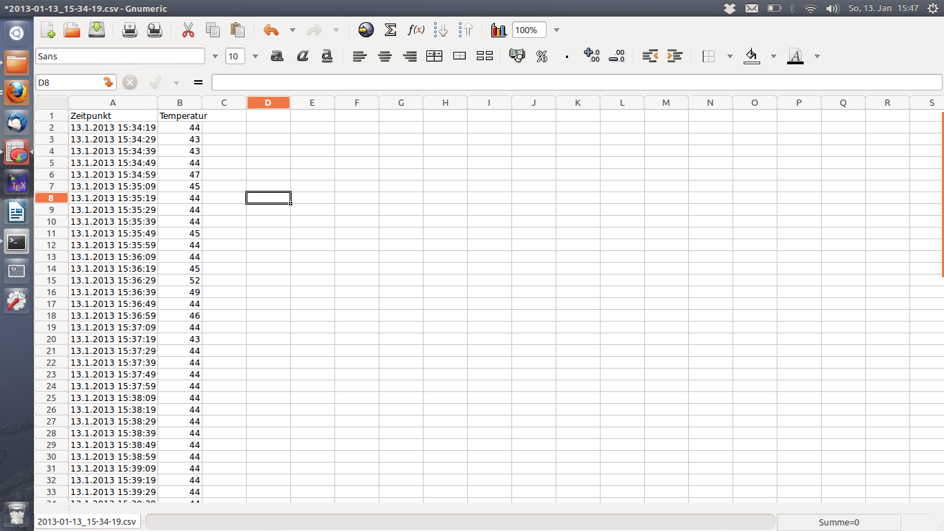 CSV-Datei in Gnumeric