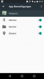 Berechtigungen für Vespucci in Android 6.0